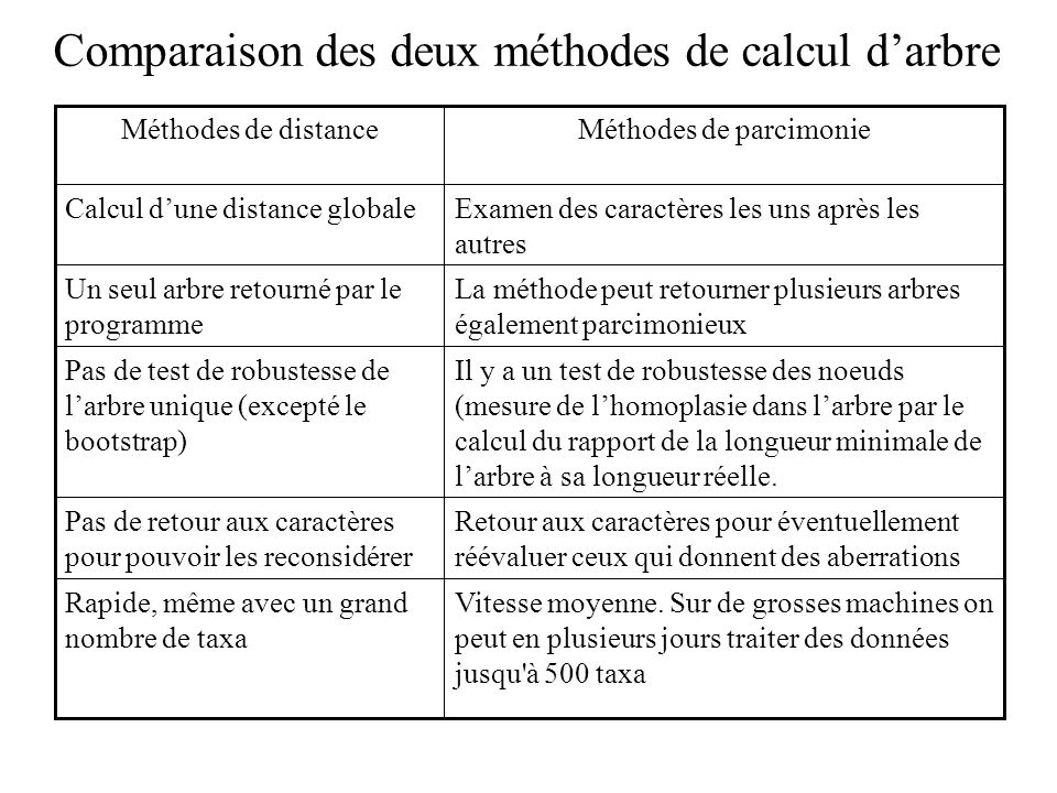 Comparaison des deux méthodes de calcul darbre Vitesse moyenne.