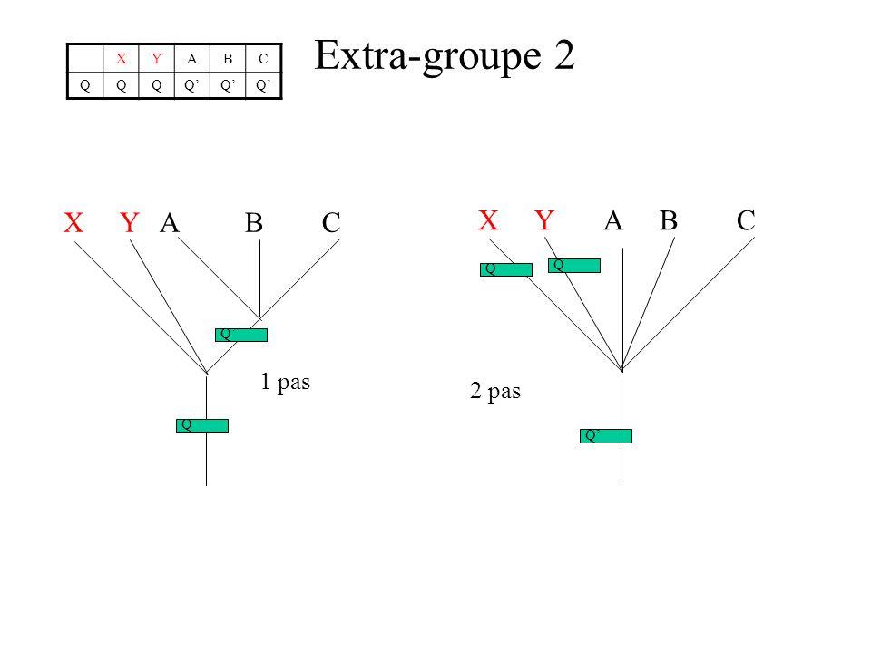 Extra-groupe 2 XYABC QQQQQQ X Y A B C Q Q 1 pas X Y A B C Q Q Q 2 pas