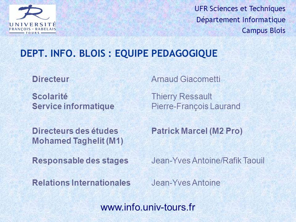 UFR Sciences et Techniques Département Informatique Campus Blois DEPT.