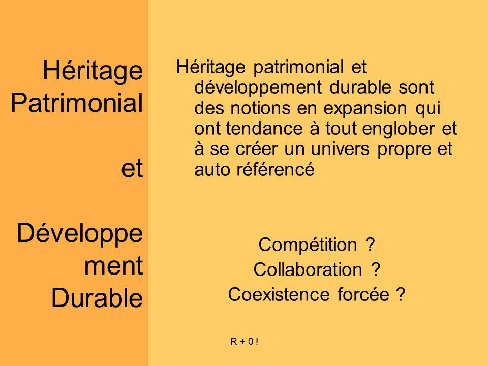 R + 0 ! Héritage Patrimonial et Développe ment Durable Héritage patrimonial et développement durable sont des notions en expansion qui ont tendance à