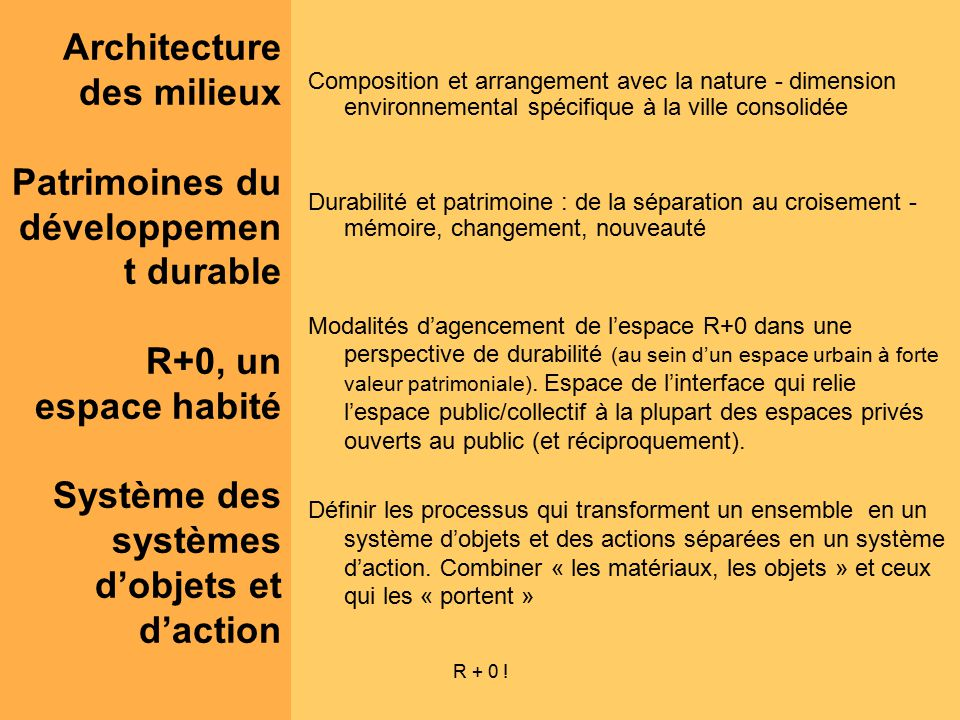 R + 0 ! Composition et arrangement avec la nature - dimension environnemental spécifique à la ville consolidée Durabilité et patrimoine : de la sépara