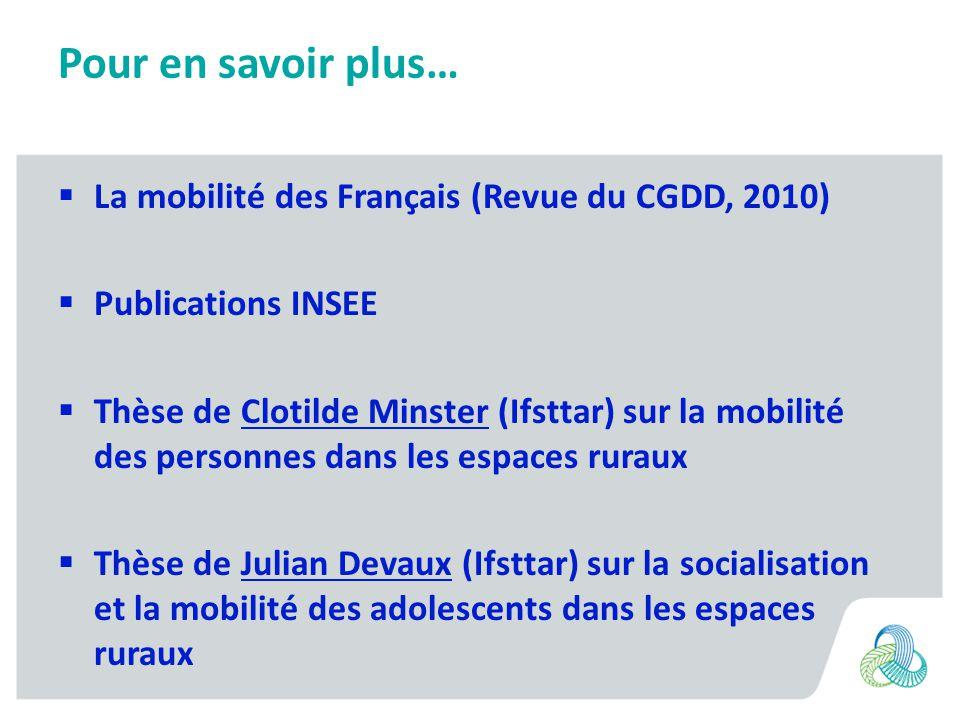 Pour en savoir plus… La mobilité des Français (Revue du CGDD, 2010) Publications INSEE Thèse de Clotilde Minster (Ifsttar) sur la mobilité des personn