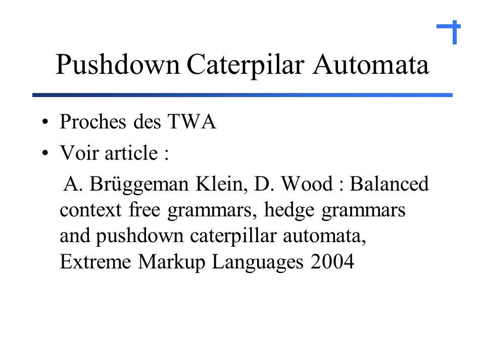 Pushdown Caterpilar Automata Proches des TWA Voir article : A.