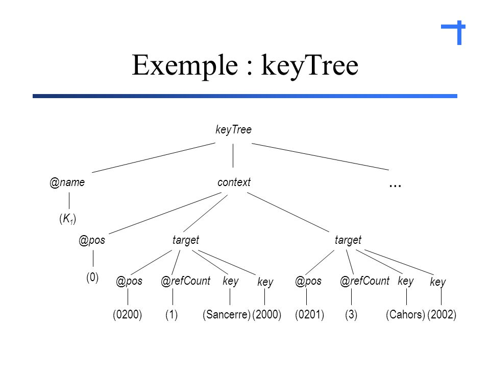 Exemple : keyTree (Cahors)(2002)(0201) @refCount@poskey@refCount@pos (Sancerre)(2000)(0200) key target context (1)(3) key @pos … keyTree @name (0) (K1)(K1)
