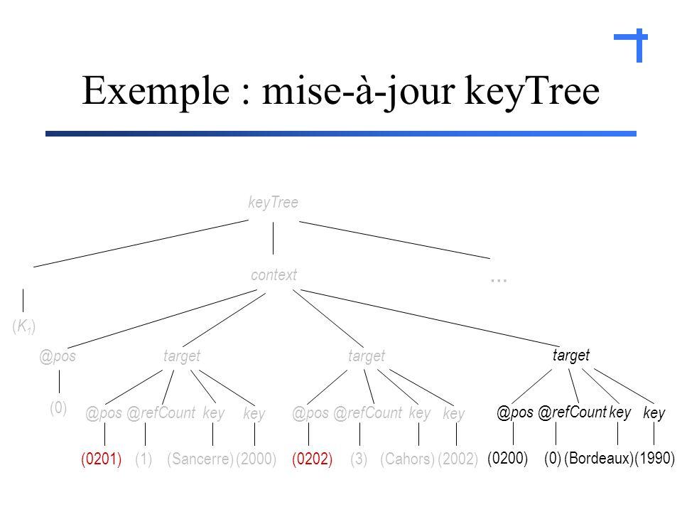 Exemple : mise-à-jour keyTree (Cahors)(2002)(0202) @refCount@poskey@refCount@pos (Sancerre)(2000)(0201) key target context (1)(3) key @pos … keyTree (0) (K1)(K1) (Bordeaux)(0200) @refCount@poskey target (0) key (1990)