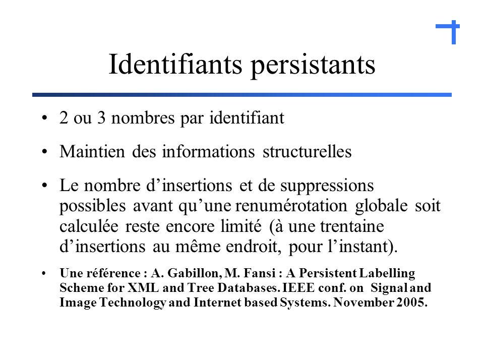 Identifiants persistants 2 ou 3 nombres par identifiant Maintien des informations structurelles Le nombre dinsertions et de suppressions possibles avant quune renumérotation globale soit calculée reste encore limité (à une trentaine dinsertions au même endroit, pour linstant).