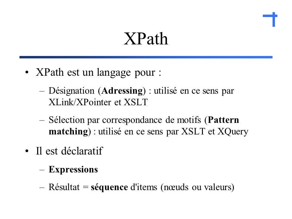 XPath est un langage pour : –Désignation (Adressing) : utilisé en ce sens par XLink/XPointer et XSLT –Sélection par correspondance de motifs (Pattern matching) : utilisé en ce sens par XSLT et XQuery Il est déclaratif –Expressions –Résultat = séquence d items (nœuds ou valeurs)