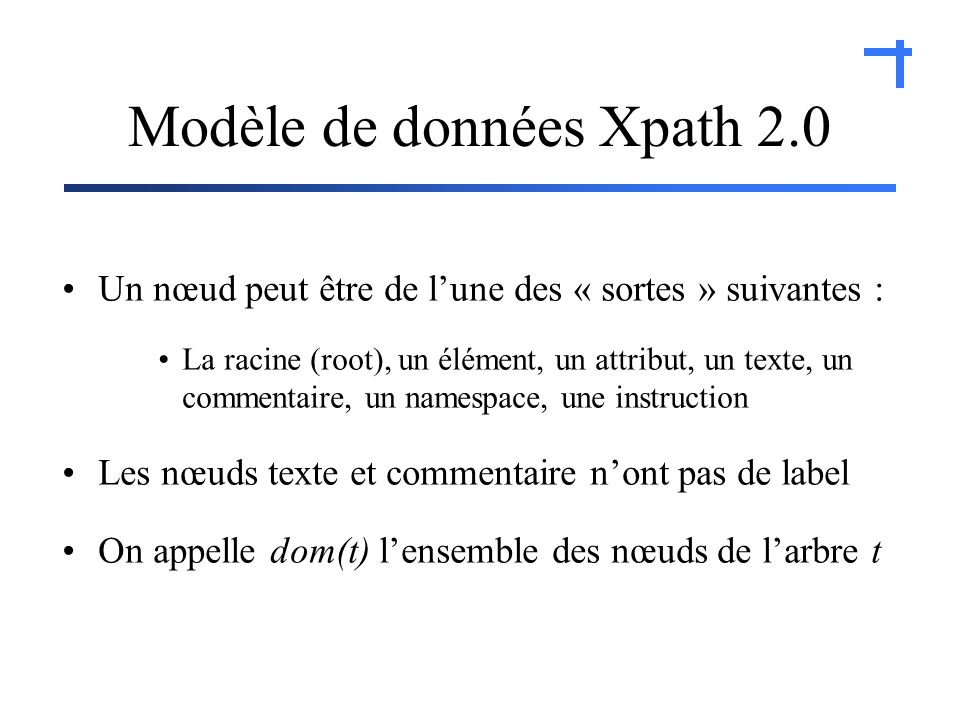 Modèle de données Xpath 2.0 Un nœud peut être de lune des « sortes » suivantes : La racine (root), un élément, un attribut, un texte, un commentaire, un namespace, une instruction Les nœuds texte et commentaire nont pas de label On appelle dom(t) lensemble des nœuds de larbre t