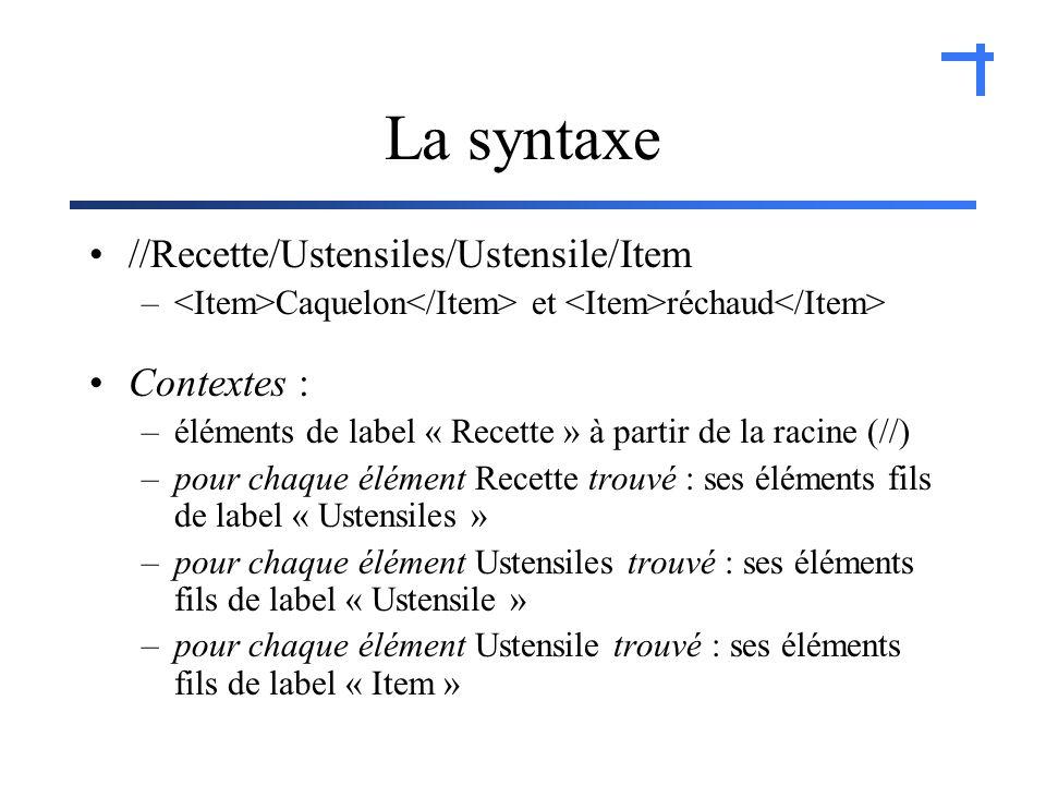 La syntaxe //Recette/Ustensiles/Ustensile/Item – Caquelon et réchaud Contextes : –éléments de label « Recette » à partir de la racine (//) –pour chaque élément Recette trouvé : ses éléments fils de label « Ustensiles » –pour chaque élément Ustensiles trouvé : ses éléments fils de label « Ustensile » –pour chaque élément Ustensile trouvé : ses éléments fils de label « Item »