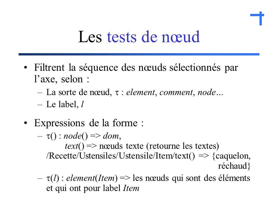 Les tests de nœud Filtrent la séquence des nœuds sélectionnés par laxe, selon : –La sorte de nœud, : element, comment, node… –Le label, l Expressions de la forme : – () : node() => dom, text() => nœuds texte (retourne les textes) /Recette/Ustensiles/Ustensile/Item/text() => {caquelon, réchaud} – (l) : element(Item) => les nœuds qui sont des éléments et qui ont pour label Item