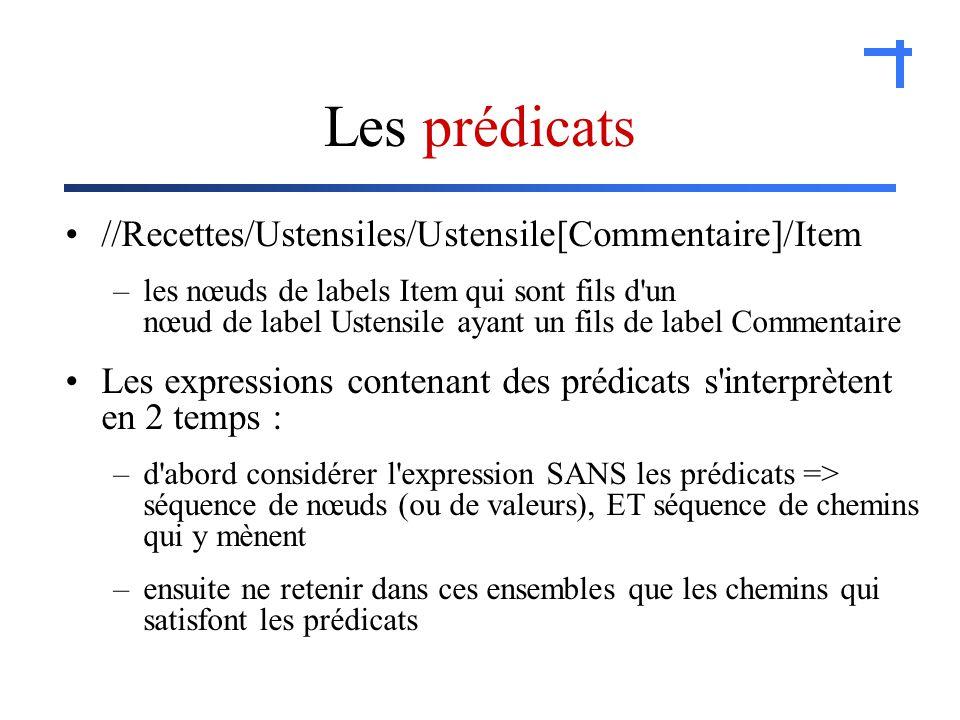 Les prédicats //Recettes/Ustensiles/Ustensile[Commentaire]/Item –les nœuds de labels Item qui sont fils d un nœud de label Ustensile ayant un fils de label Commentaire Les expressions contenant des prédicats s interprètent en 2 temps : –d abord considérer l expression SANS les prédicats => séquence de nœuds (ou de valeurs), ET séquence de chemins qui y mènent –ensuite ne retenir dans ces ensembles que les chemins qui satisfont les prédicats