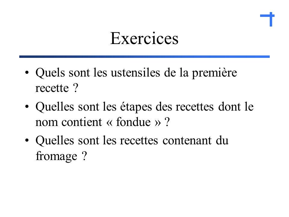 Exercices Quels sont les ustensiles de la première recette .