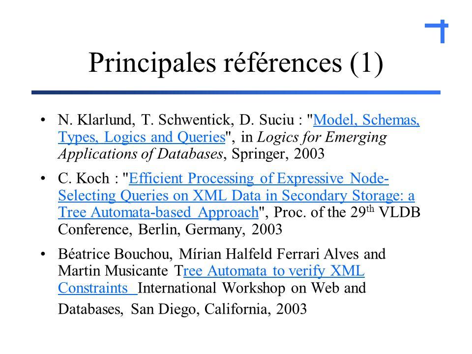 Principales références (1) N. Klarlund, T. Schwentick, D.