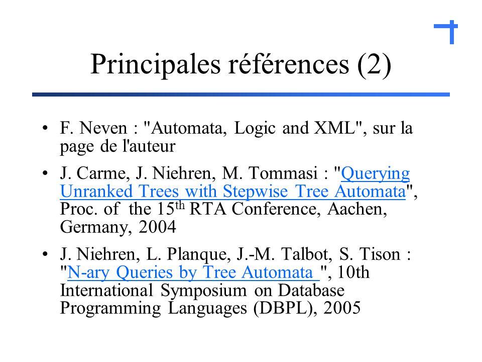 Principales références (2) F. Neven : Automata, Logic and XML , sur la page de l auteur J.