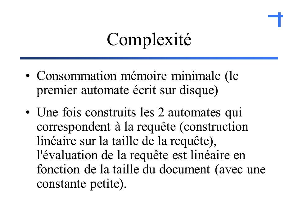 Complexité Consommation mémoire minimale (le premier automate écrit sur disque) Une fois construits les 2 automates qui correspondent à la requête (construction linéaire sur la taille de la requête), l évaluation de la requête est linéaire en fonction de la taille du document (avec une constante petite).
