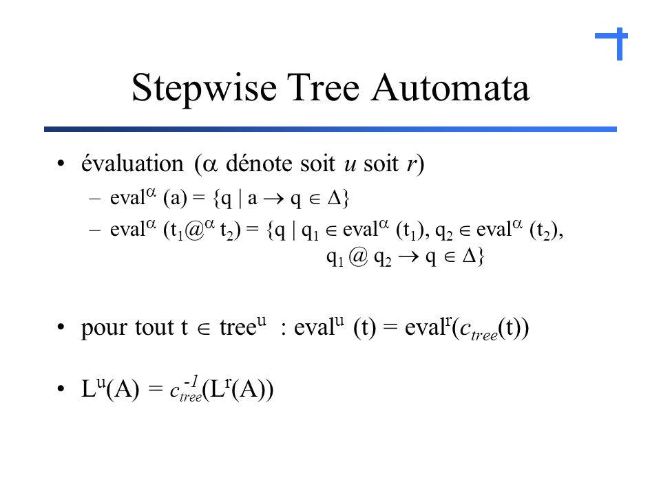 Stepwise Tree Automata évaluation ( dénote soit u soit r) –eval (a) = {q | a q } –eval (t 1 @ t 2 ) = {q | q 1 eval (t 1 ), q 2 eval (t 2 ), q 1 @ q 2 q } pour tout t tree u : eval u (t) = eval r (c tree (t)) L u (A) = c tree (L r (A))
