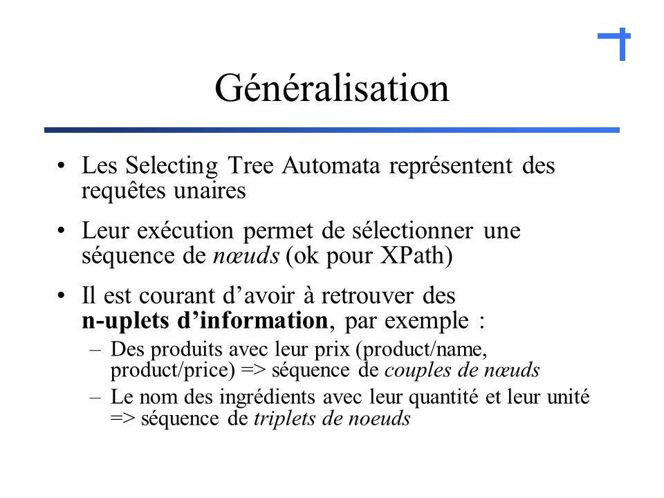 Généralisation Les Selecting Tree Automata représentent des requêtes unaires Leur exécution permet de sélectionner une séquence de nœuds (ok pour XPath) Il est courant davoir à retrouver des n-uplets dinformation, par exemple : –Des produits avec leur prix (product/name, product/price) => séquence de couples de nœuds –Le nom des ingrédients avec leur quantité et leur unité => séquence de triplets de noeuds