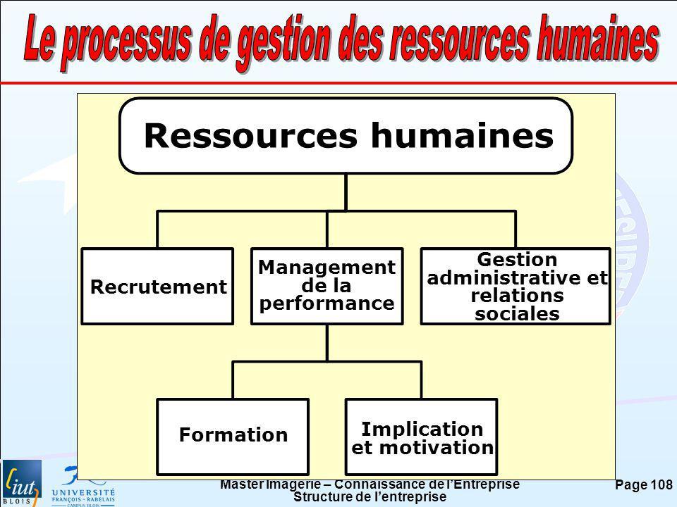 Master Imagerie – Connaissance de lEntreprise Structure de lentreprise Page 108 Ressources humaines Recrutement Management de la performance Gestion a