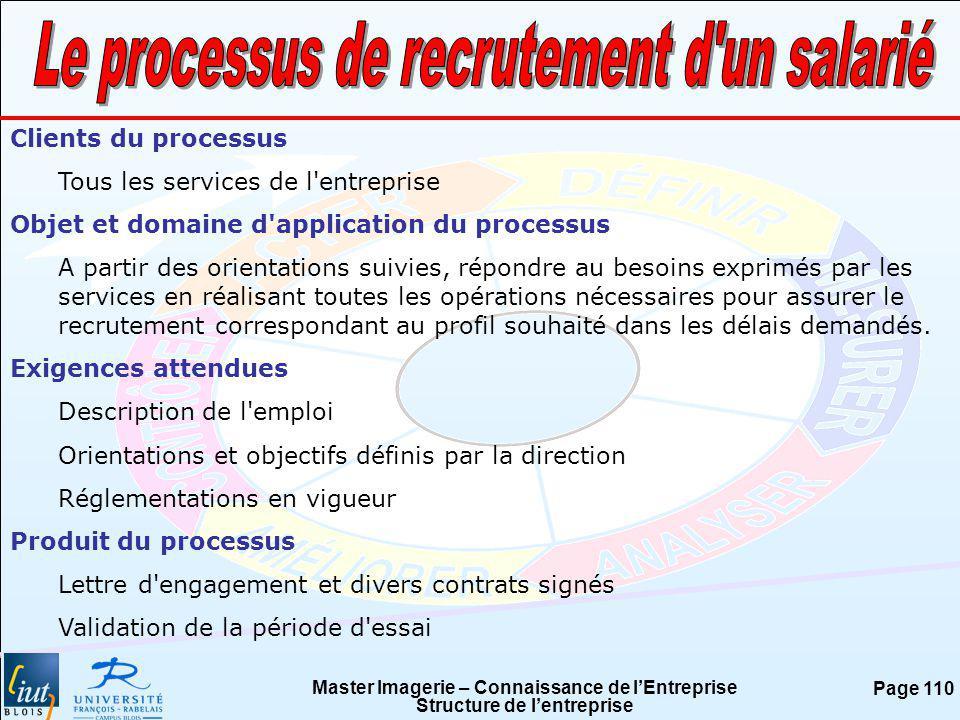 Master Imagerie – Connaissance de lEntreprise Structure de lentreprise Page 110 Clients du processus Tous les services de l'entreprise Objet et domain