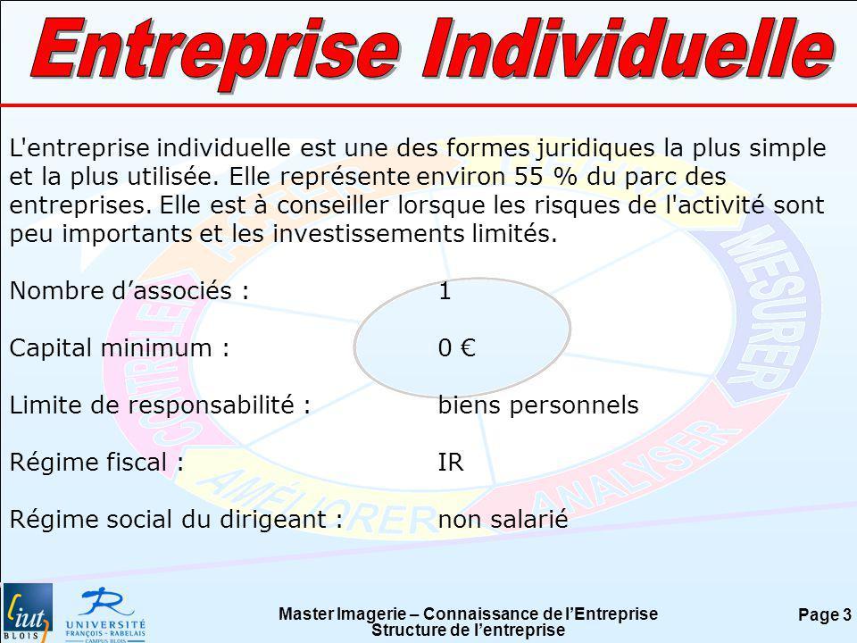 Master Imagerie – Connaissance de lEntreprise Structure de lentreprise Page 3 L'entreprise individuelle est une des formes juridiques la plus simple e