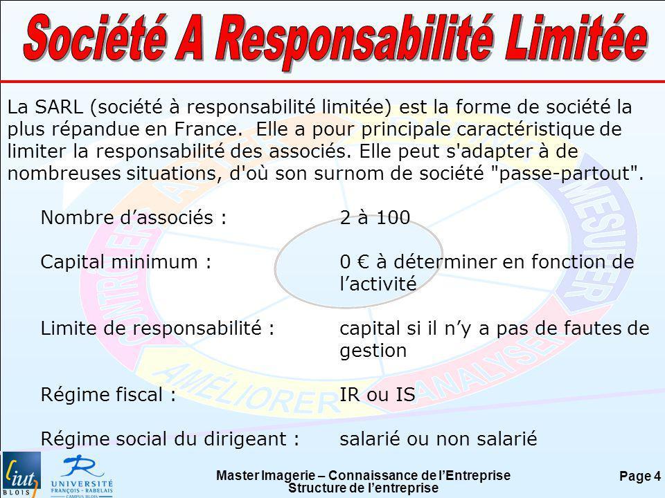 Master Imagerie – Connaissance de lEntreprise Structure de lentreprise Page 4 La SARL (société à responsabilité limitée) est la forme de société la pl