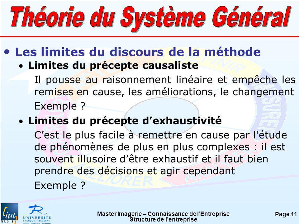 Master Imagerie – Connaissance de lEntreprise Structure de lentreprise Page 41 Les limites du discours de la méthode Limites du précepte causaliste Il
