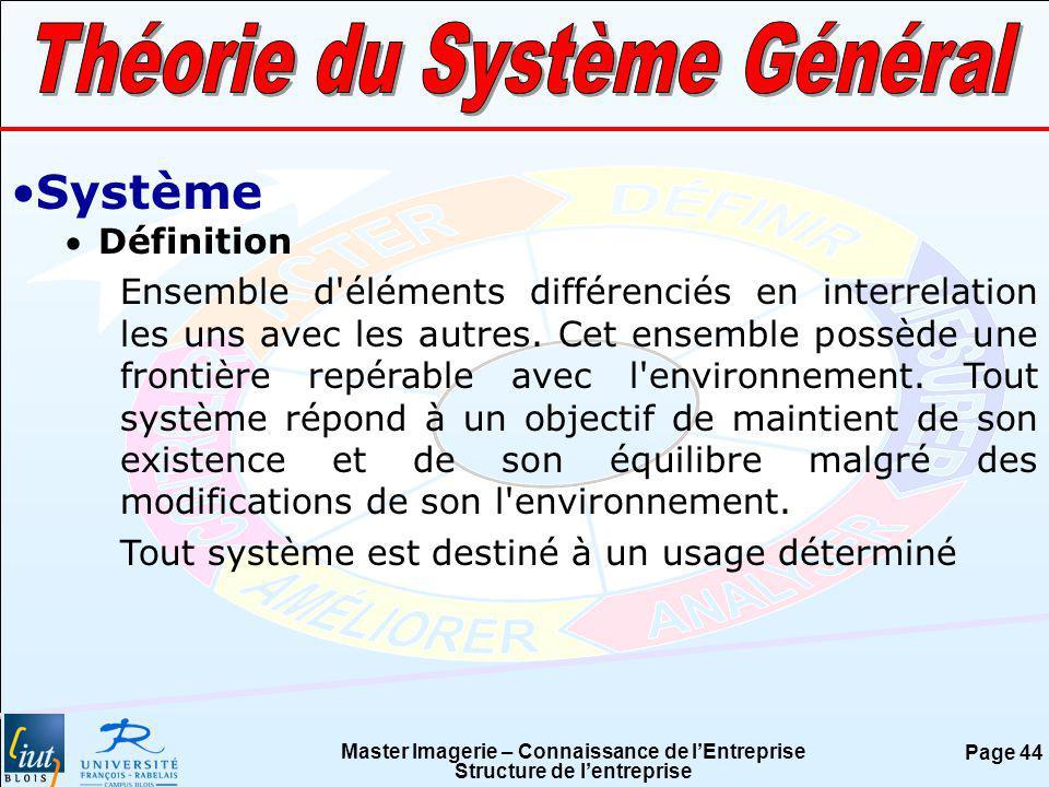Master Imagerie – Connaissance de lEntreprise Structure de lentreprise Page 44 Système Définition Ensemble d'éléments différenciés en interrelation le