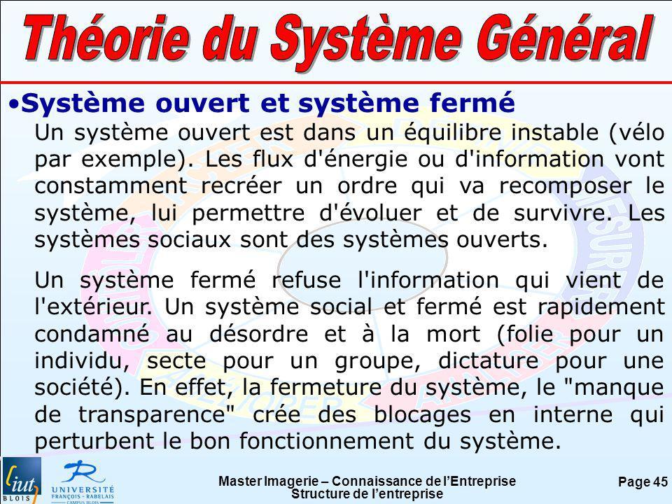 Master Imagerie – Connaissance de lEntreprise Structure de lentreprise Page 45 Système ouvert et système fermé Un système ouvert est dans un équilibre