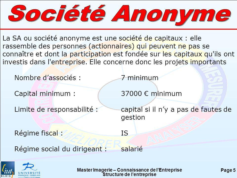 Master Imagerie – Connaissance de lEntreprise Structure de lentreprise Page 5 La SA ou société anonyme est une société de capitaux : elle rassemble de