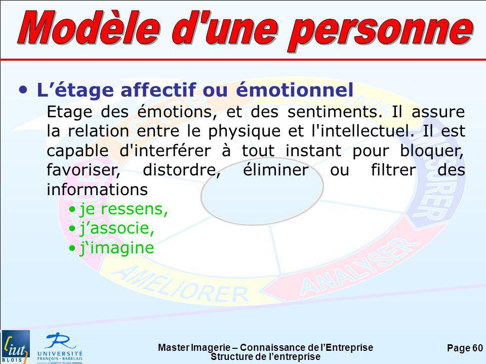 Master Imagerie – Connaissance de lEntreprise Structure de lentreprise Page 60 Létage affectif ou émotionnel Etage des émotions, et des sentiments. Il