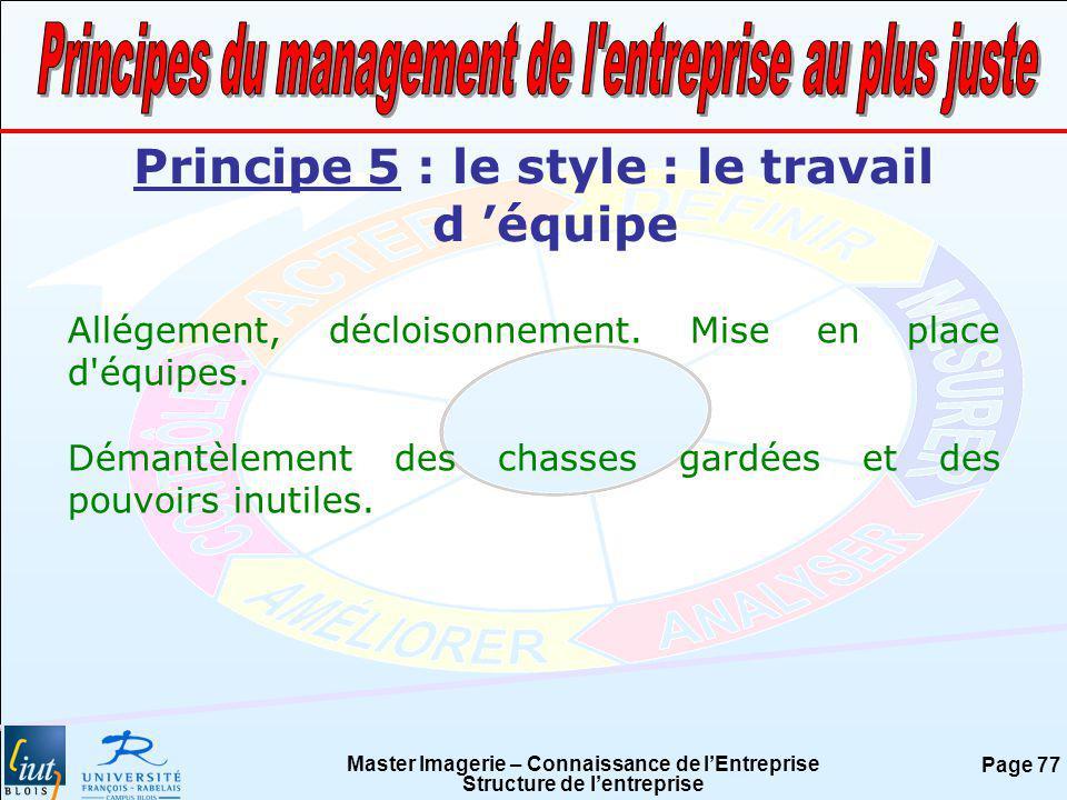 Master Imagerie – Connaissance de lEntreprise Structure de lentreprise Page 77 Principe 5 : le style : le travail d équipe Allégement, décloisonnement