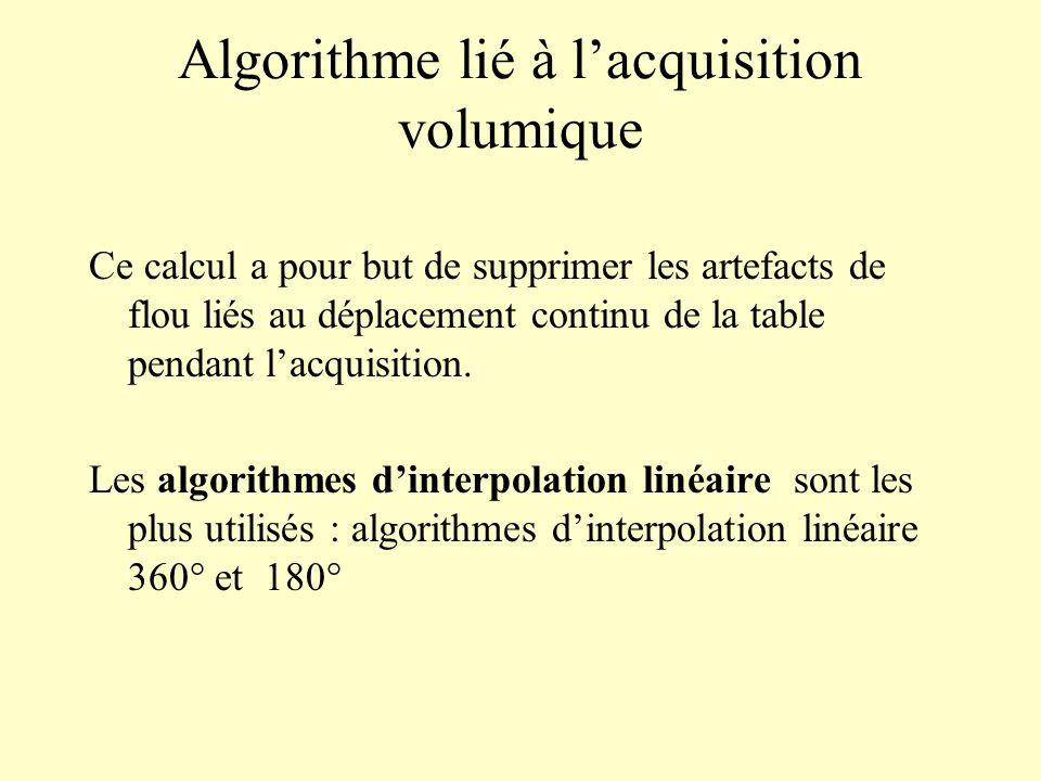 Algorithme lié à lacquisition volumique Ce calcul a pour but de supprimer les artefacts de flou liés au déplacement continu de la table pendant lacqui