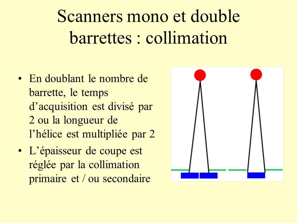 Scanners mono et double barrettes : collimation En doublant le nombre de barrette, le temps dacquisition est divisé par 2 ou la longueur de lhélice es