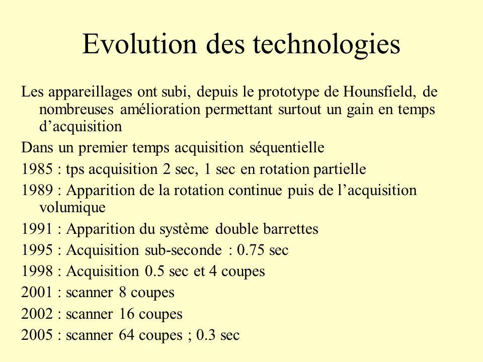 Evolution des technologies Les appareillages ont subi, depuis le prototype de Hounsfield, de nombreuses amélioration permettant surtout un gain en tem