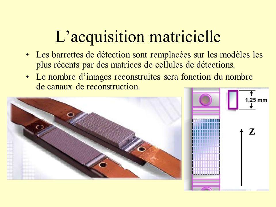 Lacquisition matricielle Les barrettes de détection sont remplacées sur les modèles les plus récents par des matrices de cellules de détections. Le no
