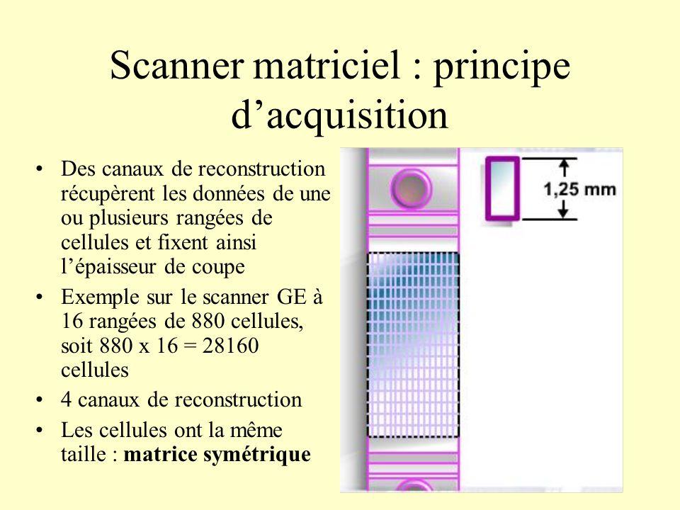 Scanner matriciel : principe dacquisition Des canaux de reconstruction récupèrent les données de une ou plusieurs rangées de cellules et fixent ainsi