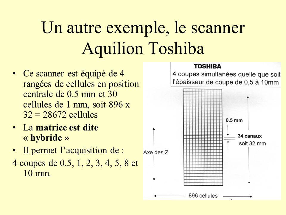 Un autre exemple, le scanner Aquilion Toshiba Ce scanner est équipé de 4 rangées de cellules en position centrale de 0.5 mm et 30 cellules de 1 mm, so