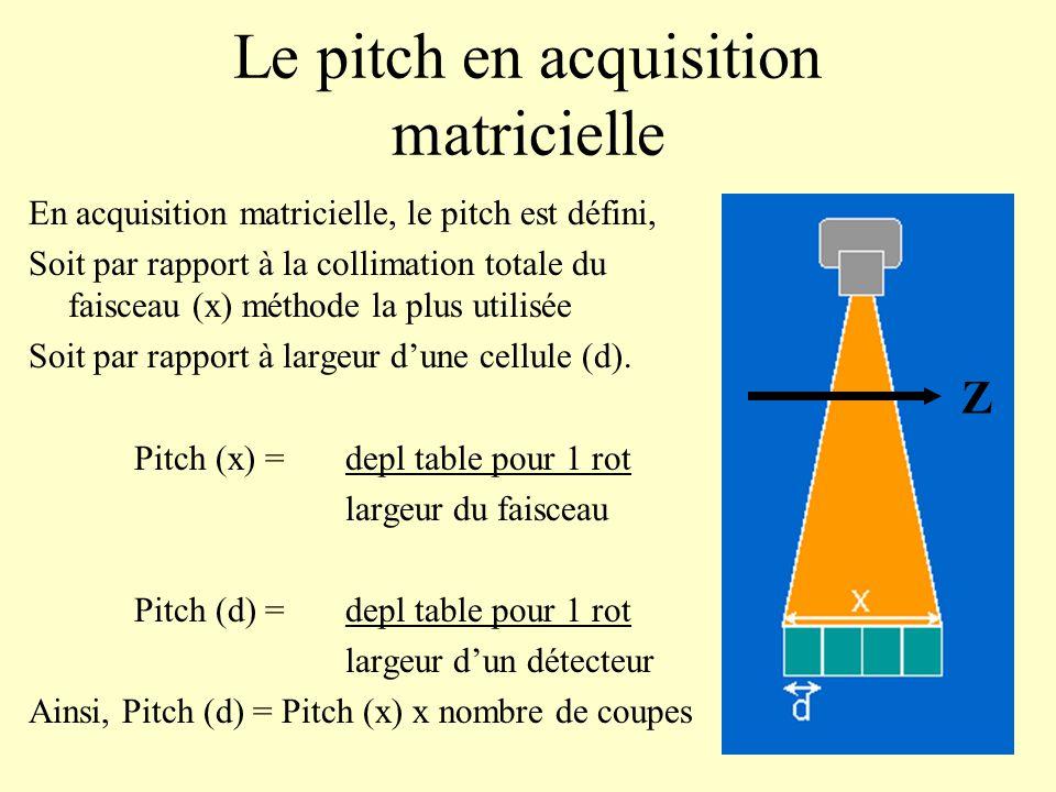 Le pitch en acquisition matricielle En acquisition matricielle, le pitch est défini, Soit par rapport à la collimation totale du faisceau (x) méthode