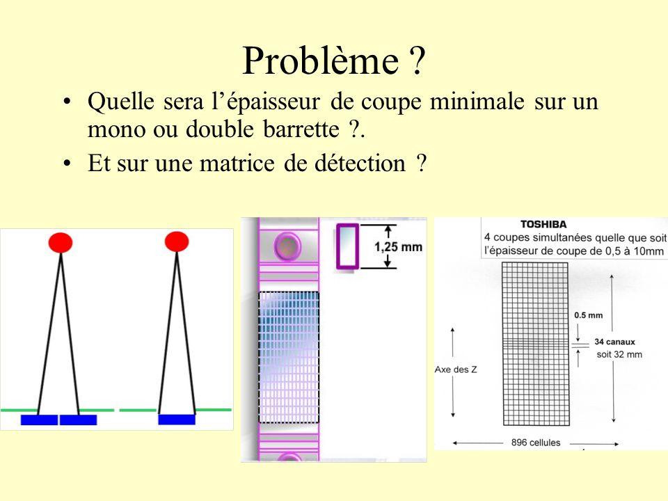 Problème ? Quelle sera lépaisseur de coupe minimale sur un mono ou double barrette ?. Et sur une matrice de détection ?