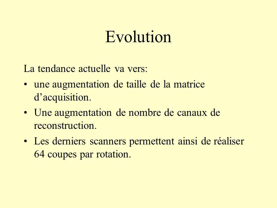 Evolution La tendance actuelle va vers: une augmentation de taille de la matrice dacquisition. Une augmentation de nombre de canaux de reconstruction.