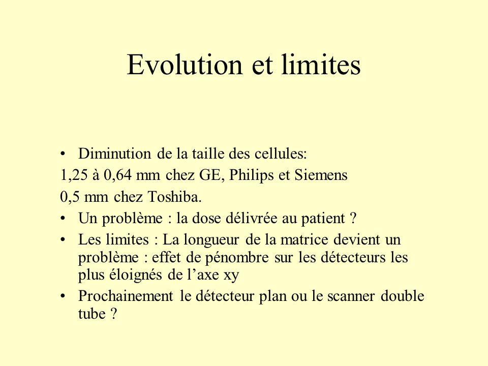 Evolution et limites Diminution de la taille des cellules: 1,25 à 0,64 mm chez GE, Philips et Siemens 0,5 mm chez Toshiba. Un problème : la dose déliv