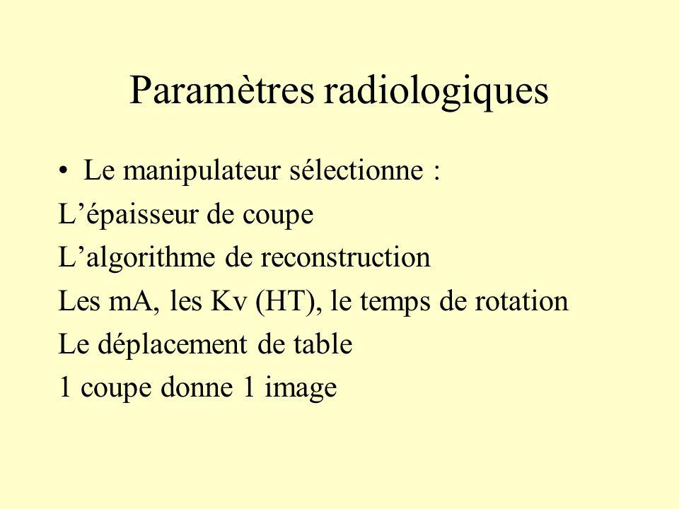 Paramètres radiologiques Le manipulateur sélectionne : Lépaisseur de coupe Lalgorithme de reconstruction Les mA, les Kv (HT), le temps de rotation Le