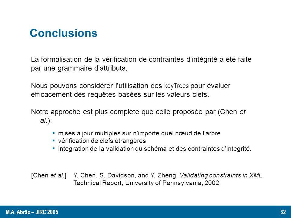 Conclusions La formalisation de la vérification de contraintes d intégrité a été faite par une grammaire dattributs.
