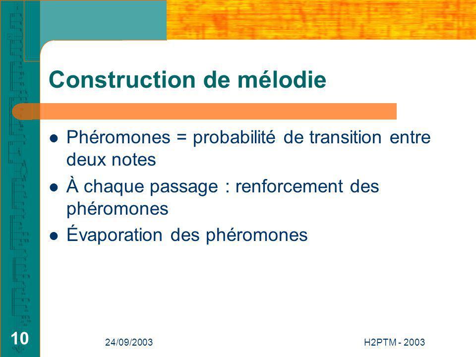 24/09/2003H2PTM - 2003 10 Construction de mélodie Phéromones = probabilité de transition entre deux notes À chaque passage : renforcement des phéromones Évaporation des phéromones