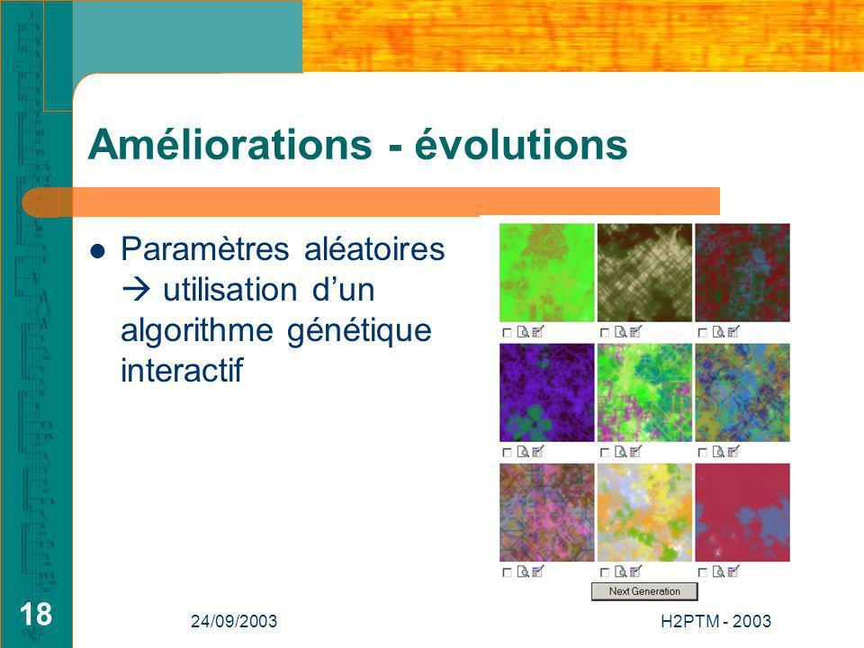 24/09/2003H2PTM - 2003 18 Améliorations - évolutions Paramètres aléatoires utilisation dun algorithme génétique interactif