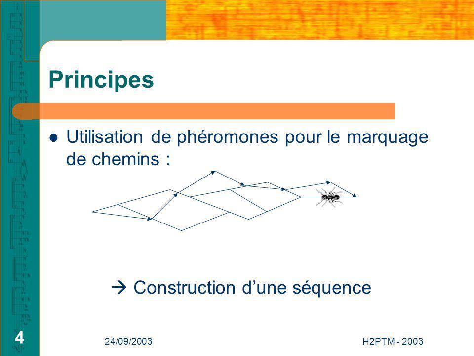 24/09/2003H2PTM - 2003 4 Principes Utilisation de phéromones pour le marquage de chemins : Construction dune séquence