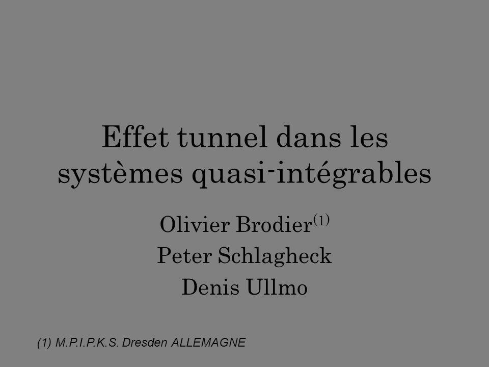Effet tunnel dans les systèmes quasi-intégrables Olivier Brodier (1) Peter Schlagheck Denis Ullmo (1) M.P.I.P.K.S. Dresden ALLEMAGNE
