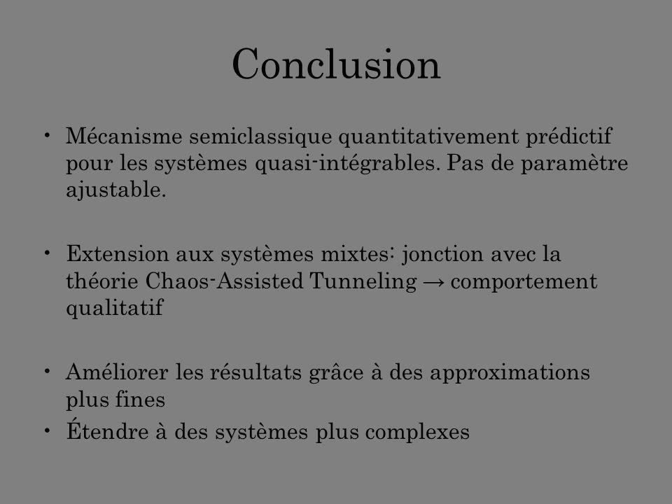 Conclusion Mécanisme semiclassique quantitativement prédictif pour les systèmes quasi-intégrables. Pas de paramètre ajustable. Extension aux systèmes