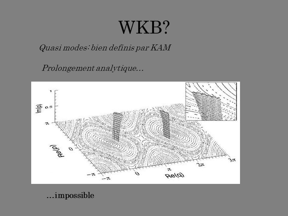 WKB? …impossible Quasi modes: bien definis par KAM Prolongement analytique…