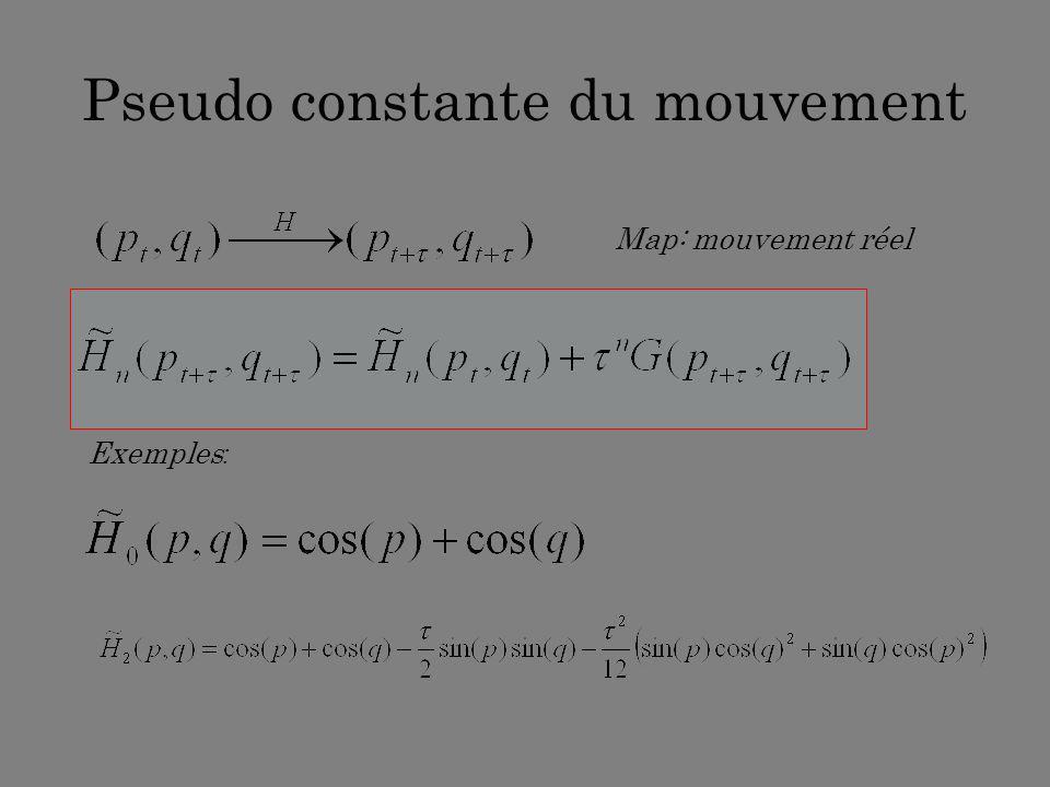 Pseudo constante du mouvement Map: mouvement réel Exemples :